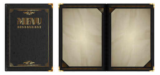 restaurant menu gold leather notepad black