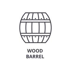 wood barrel line icon, outline sign, linear symbol, flat vector illustration