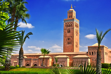 Koutoubia Mosque in the southwest medina quarter of Marrakesh
