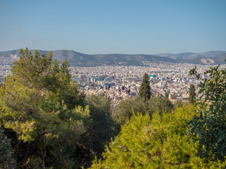 Areopagus hill with tourists in Athens, Greece