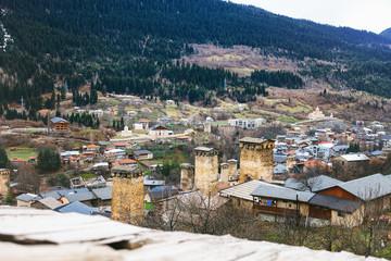 Panoramic view on Svan tower in Upper Svaneti village Mestia, Georgia