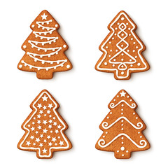 Set of gingerbread christmas tree cookies with ornaments