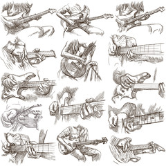An hand drawn collection, full sized pack - GUITAR SOLO, hand drawings on white, isolated.