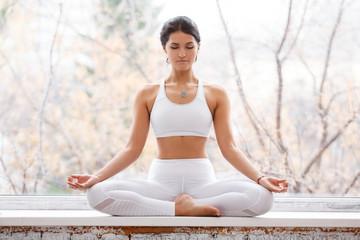 Printed roller blinds Yoga school Beautiful young woman doing yoga