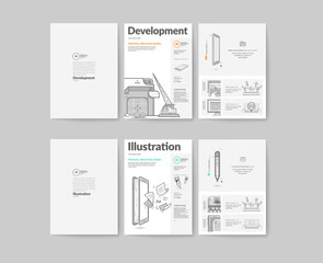 Bifold Brochure collection with concept icons.