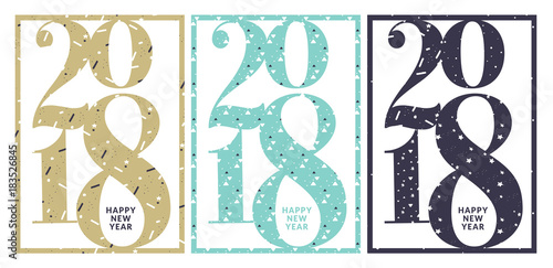 Set of New Years greeting card. Flat design vector illustration ...