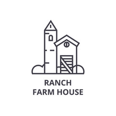 ranch farm house line icon, outline sign, linear symbol, flat vector illustration