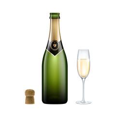 bouteille et coupe de champagne