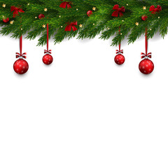 Vector border with Christmas tree Branches and decorations, balls, bows. Christmas illustration