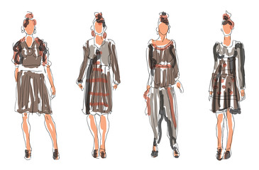 Sketched Fashion Women Models