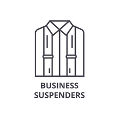 business suspenders line icon, outline sign, linear symbol, flat vector illustration