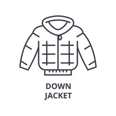 down jacket line icon, outline sign, linear symbol, flat vector illustration
