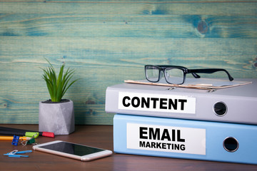 Email marketing and content. Successful business, advertising and social networking information.