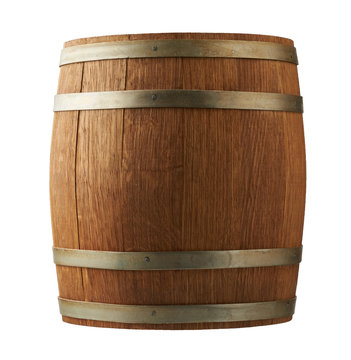 Old wooden barrel isolated on white background.