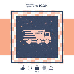 Express delivery icon. Delivery car with an inscription Speed shipping.
