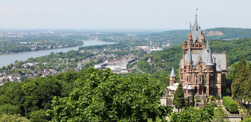 Drachenburg Castle overlooking the river Rhine and the city of Bonn
