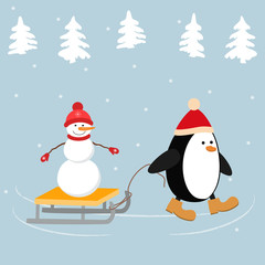 Christmas penguin in a red hat carries a snowman on a sleigh. Winter landscape with fir trees. It can be used as a design element in the Christmas composition. Vector illustration.