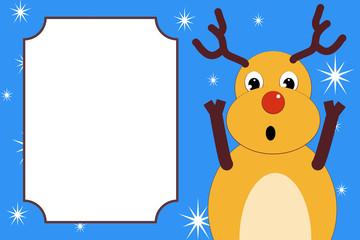 A surprised frightened Christmas deer.