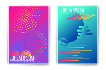 Vector neon fluid abstract poster template. Minimal modern placard, brochure, cover. Trendy colors edition. Easy to modify and add text.