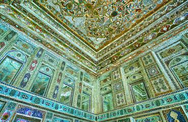 Complex mirrorwork in Zinat Ol-Molk mansion, Shiraz, Iran