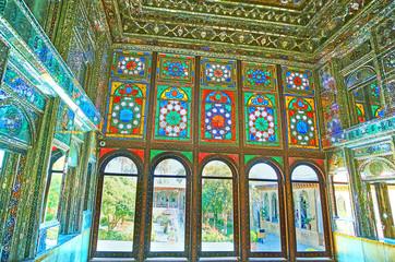 Stained-glass windows in Zinat Ol-Molk mansion, Shiraz, Iran