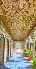 In covered gallery of Zinat Ol-Molk mansion, Shiraz, Iran