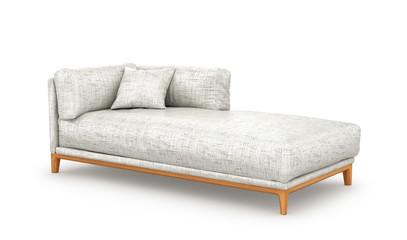 Современный белый диван-кровать. 3d иллюстрации