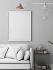Mock up poster, hipster white loft with modern furniture, 3d render, 3d illustration
