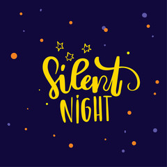 hand drawn lettering. Modern brush calligraphy Silent night lettering design on blue background