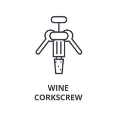 wine corkscrew line icon, outline sign, linear symbol, flat vector illustration