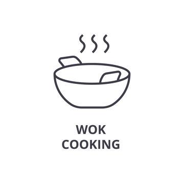wok cooking line icon, outline sign, linear symbol, flat vector illustration