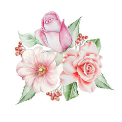 Watercolor bouquet with flowers. Rose. Rowan. Illustration. Hand drawn.