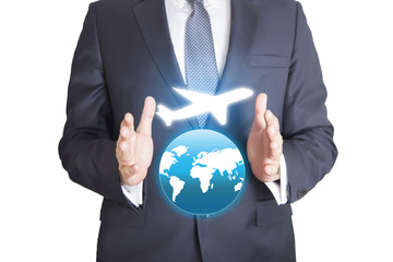 business man hand pressing airplane button over world map green background, Airplane transportation concept