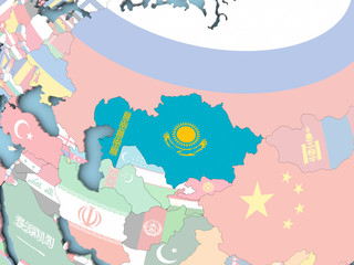 Map of Kazakhstan with flag on globe