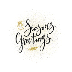 Seasons Greetings card. Calligraphy phrase with gold glitter present. Modern lettering. New Year card. Used for greeting card, valentines day, banner, poster, congratulate.