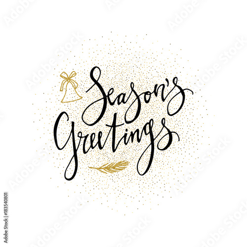 Seasons greetings card calligraphy phrase with gold glitter present seasons greetings card calligraphy phrase with gold glitter present modern lettering new year m4hsunfo