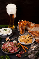 Different appetizers and beer