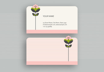 Pink Stripes and Die-Cut Flower Business Card