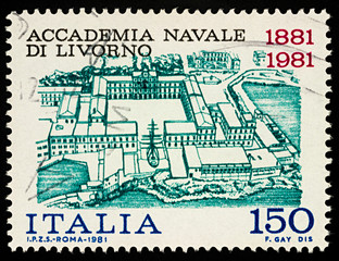 Livorno Naval Academy on postage stamp