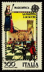 Marostica - City of Chess in northern Italy on postage stamp