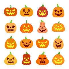 Colorful carving face Halloween Pumpkin icon set