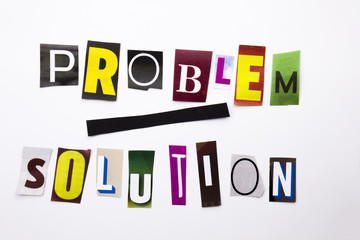 A word writing text showing concept of Problem Solution made of different magazine newspaper letter for Business case on the white background with copy space