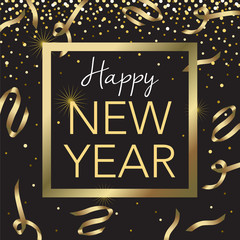 Gold Frame Happy New Year Vector Illustration 1