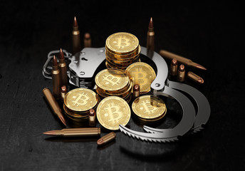 Stack of Bitcoin in open handcuffs and bullets. Bitcoin as a form of payment for illegal goods and services concept. 3D rendering