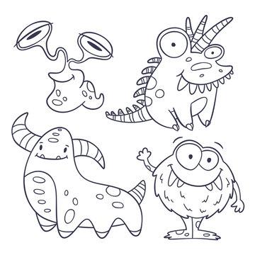 4 funny monster doodles (outlines)