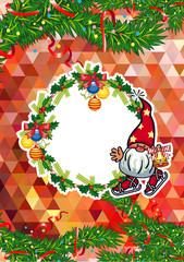 Holiday card with Christmas decorations and funny gnomes. Copy space