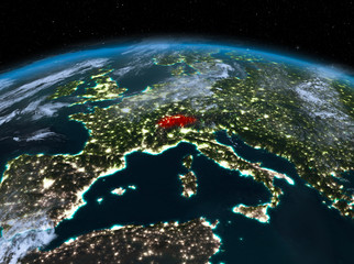 Switzerland from space at night