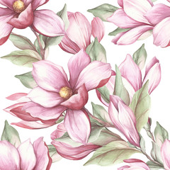 Seamless pattern with blooming magnolia. Watercolor illustration