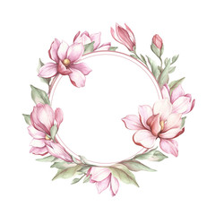 Frame with blooming magnolia. Hand draw watercolor illustration