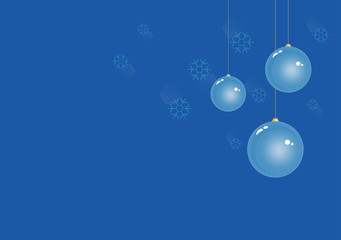 Light Blue Christmas balls on Blue Winter background with snowflakes. Vector